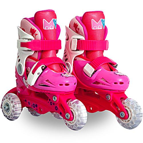 Ролики детские 26 размер, для обучения (трансформеры, раздвижной ботинок) MagicWheels розовые